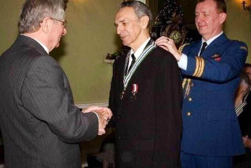 Max Winters receiving the Order of NL in 2007 in recognition of his leadership roles within Happy Valley-Goose Bay. Winters passed away yesterday at the age of 76.