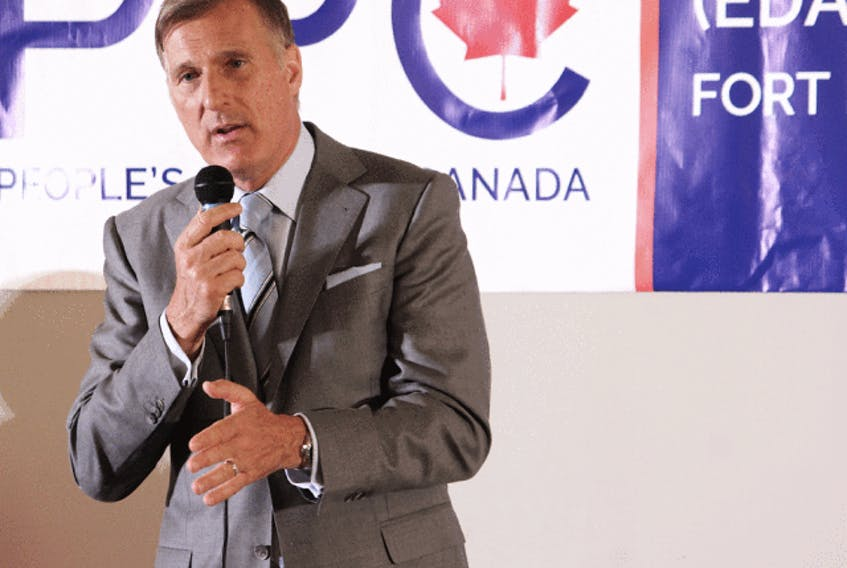 People's Party of Canada Leader Maxime Bernier prepares to cast his ballot in Beauce, Quebec, Oct. 21, 2019.