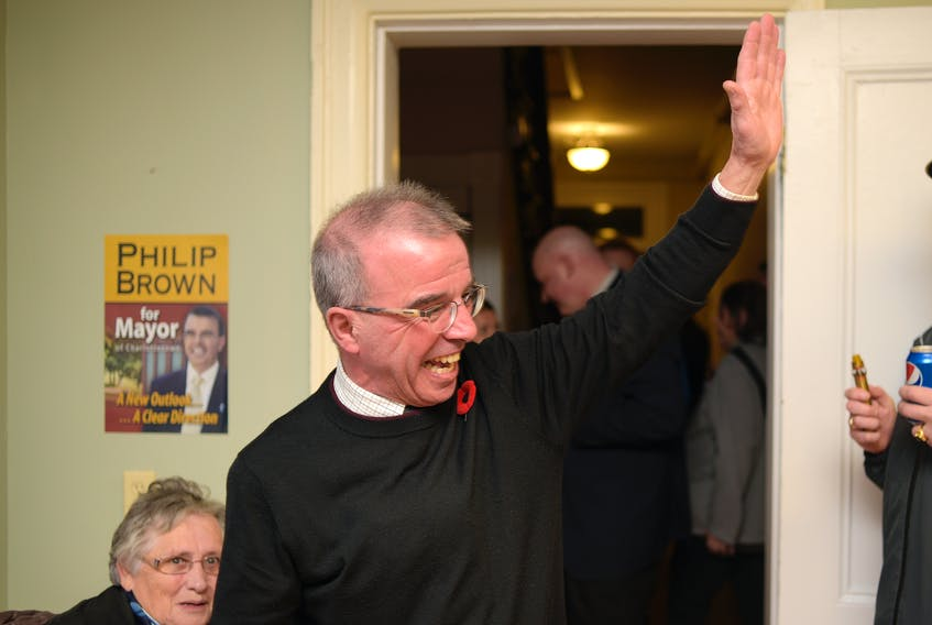 Philip Brown waves to supporters after arriving at his headquarters in Charlottetown on Monday, Nov. 5, 2018.