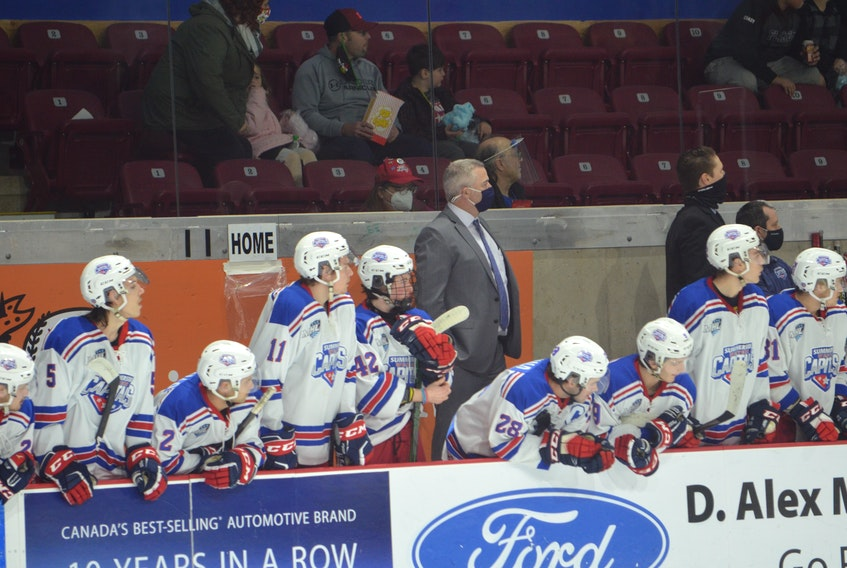 Summerside Western Capitals head coach Billy McGuigan is shown behind the team's bench during a Maritime Junior Hockey League (MHL) game at Eastlink Arena against the South Shore Lumberjacks on Nov. 21.