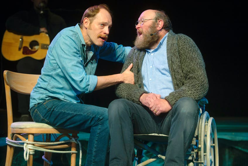 Darryl Hopkins, left, and Steve O'Connell perform a scene in Between Breaths at Neptune Theatre in Halifax. The play, which is produced by Artistic Fraud of Newfoundland, runs until Nov. 10.