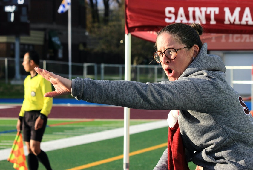 Marisa Colzie is one of eight female head coaches in Canadian U Sport women's soccer. There are 53 teams in the league. 2019 marks Colzie's third season at Saint Mary's University in Halifax. - Alix Bruch