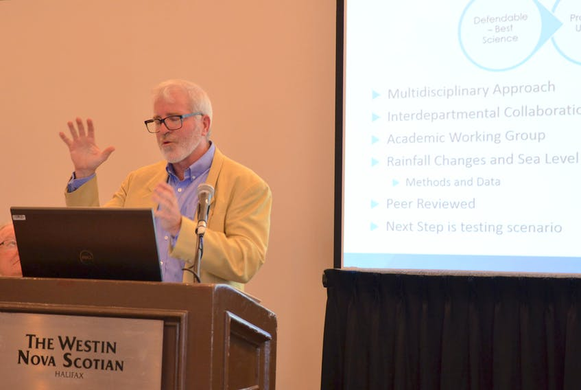 Gordon Smith, provincial director of planning, talks about municipal flood line mapping Wednesday, Nov. 6, 2019 at a session of the Nova Scotia Federation of Municipalities conference in Halifax.