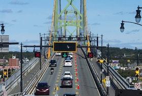 Traffic streams onto the Angus L. Macdonald Bridge in Halifax on Sept. 30, 2019.