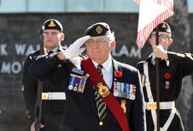 André Boudreau, of Royal Canadian Legion Branch 155 Wedgeport, salutes during a past event in Yarmouth honouring the Battle of Rimy Ridge. TINA COMEAU PHOTO