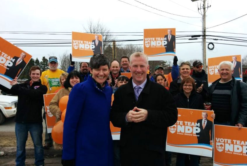 NDP MP Megan Leslie and provincial party leader Mike Redmond gather with supporters in Montague on May 1, 2015.