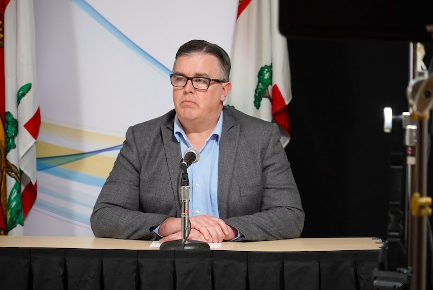 Minister of Transportation, Infrastructure and Energy Steven Myers addresses the media during a briefing on Monday, March 30.