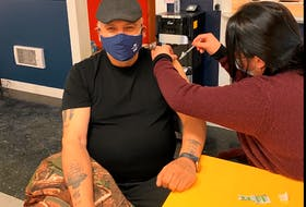 Miawpukek First Nation Chief Mi'sel Joe was one of the first in the Conne River-based band to receive the COVID-19 vaccination. Contributed photo