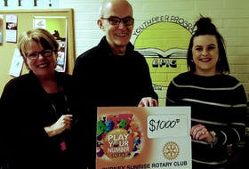 EPIC director Delores Feltmate and volunteer director Kelsey MacNeil accept a cheque from Play Your Number Lottery chair Lorne Baldin. CONTRIBUTED