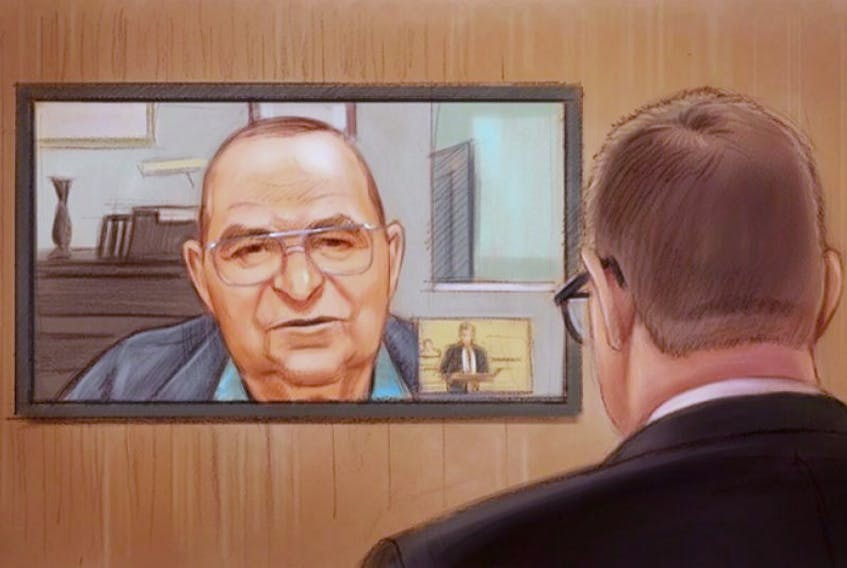 Prosecutor Mark Holmes (right) looks on as Gerald Donahue testifies via video in an artist's sketch at the Mike Duffy trial in Ottawa, Monday, Nov.23, 2015.