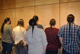 Long hair is making a resurgence among First Nations people as the culture and traditions are being learned by young people. Pictured: Keegan Christmas, Danny Paul, Jeff Ward, Elijah Metallic, Oonig Paul-Ward, Noah Matthews-Cremo, Ryan Gould. ARDELLE REYNOLDS • CAPE BRETON POST