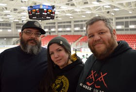 J.R. Isadore, left, Paulina Meader and Michael Isadore, right, are siblings who help organize the Wally Bernard Memorial Youth Hockey Tournament in honour of their grandfather. The tournament has been cancelled due to concerns surrounding COVID-19. OSCAR BAKER III/LOCAL JOURNALISM INITIATIVE REPORTER