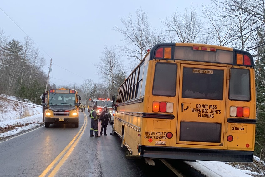Nine students were aboard a school bus when an accident occurred shortly after 4 p.m. on Jan. 14, 2021. After being assessed for injuries, they were transported home via another bus.