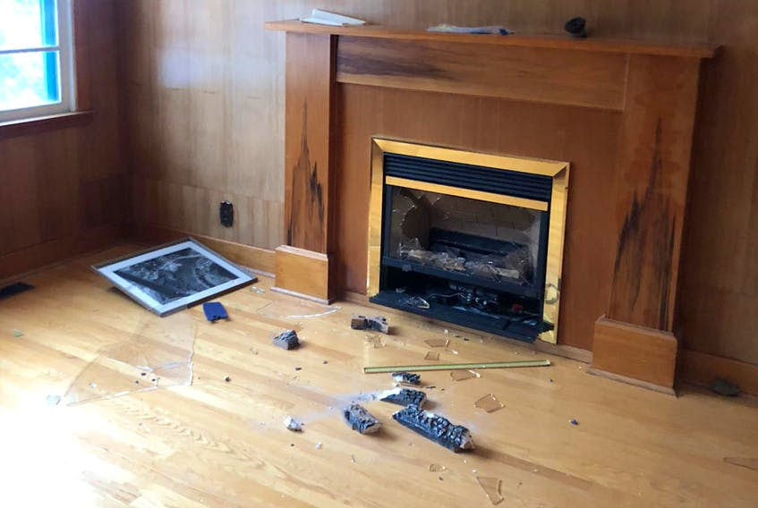 A fireplace was one of many items damaged in an act of vandalism last week at a mosque being constructed in Conception Bay South. Contributed