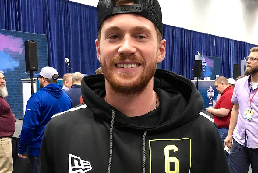 J.J. Molson, the UCLA placekicker from Montreal, poses at the NFL Scouting Combine in Indianapolis. (JOHN KRYK/Postmedia Network)