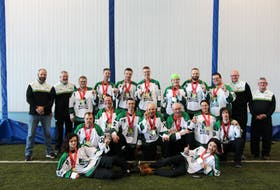Team P.EI. won a gold medal in floor hockey in dramatic fashion at the recent 2020 Special Olympics Canada Winter Games in Thunder Bay, Ont. After going 1-1-1 in the round-robin format, an overtime goal by Tommy MacGuigan lifted P.E.I. to victory in its semifinal game and Nathan Irwin provided the overtime magic in the gold-medal game. Team members are, front row, from left: Keegan Waite and Micheal MacIsaac. Middle row: Travis Perry, Jeremy Cheverie, Shawn Mitchell, John Anthony Laybolt, Tommy MacGuigan, Lisa Bernard and Nathan Irwin. Back row: Jamie Henry (mission staff), CY Holland (head coach), Evan Costain, Brian McNab, Jeremy Wall, Geoffrey Bridges, Jennifer Hickox, Billy Acorn, Jerred Affleck, Peter Howatt (assistant coach) and Rickey Burns (assistant coach).