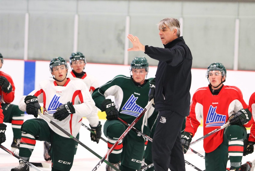 Halifax Mooseheasds head coach J.J. Daigneault instructs the players during an Aug. 30, 2020 practice at the RBC Centre in Dartmouth. (ERIC WYNNE/Chronicle Herald)