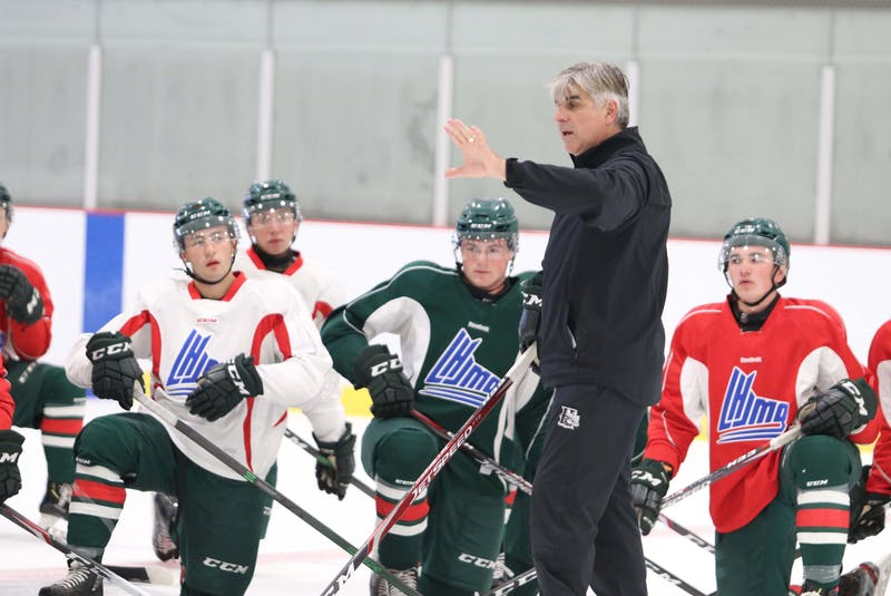 Halifax Mooseheads head coach J.J. Daigneault instructs the players during an Aug. 30, 2020 practice at the RBC Centre in Dartmouth. - Eric Wynne