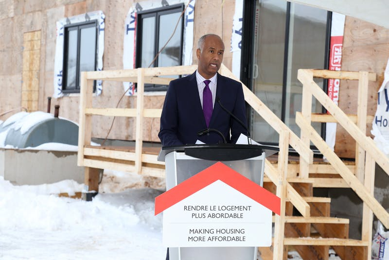 Ahmed Hussen, minister of families, children and social development, makes a housing announcement in Prince Edward Island in March 2020. Contributed - SaltWire Network