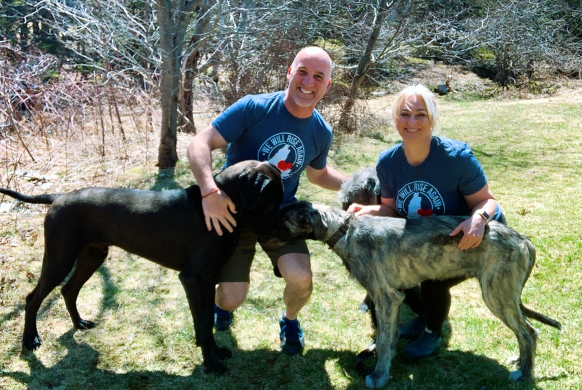 Lorne Burke, left, and Tracie Breskie with two of their four large breed dogs: Picasso, a great dane, and Einstein, an Irish wolfhound. The couple is opening Island Dog Lodge this spring and their dogs will be on staff, helping with the training programs being offered. CONTRIBUTED