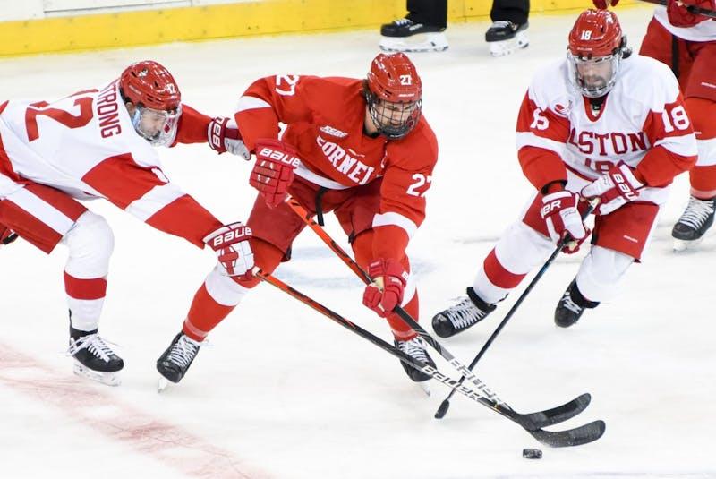 Halifax's Morgan Barron battles for the puck during an NCAA game for Cornell University against Boston University last season. - Boris Tsang/The Cornell Daily Sun