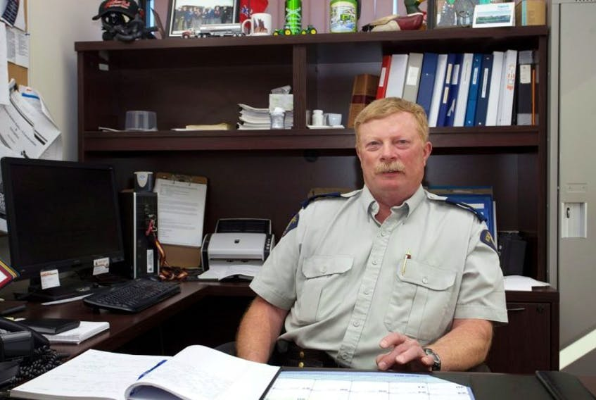 Staff-Sgt. Rocky Calhounin his office at the Digby RCMP detachment.