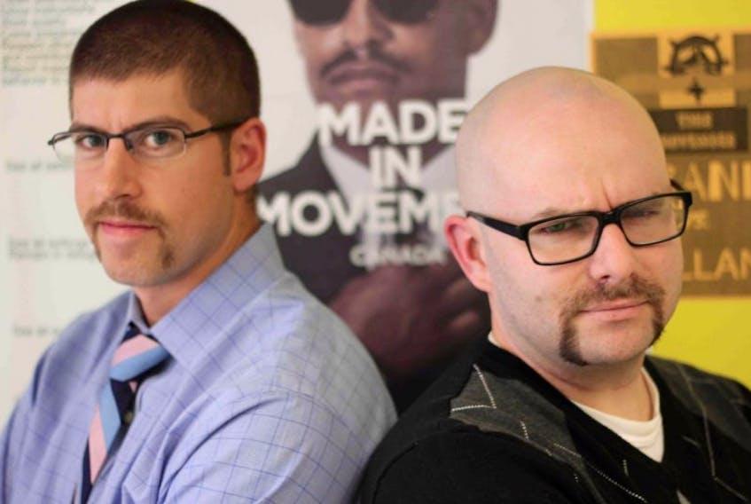 <p>Nicolas Brand and Gavin Rolland, teachers at Lockeport Regional High School take part in a Movember challenge.&nbsp; Amy Woolvett photo</p>