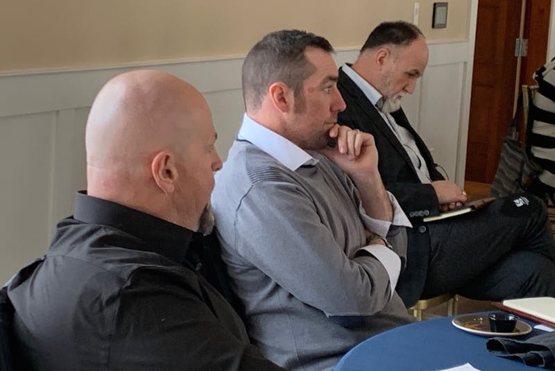 CBRM councillors Gordon MacDonald, left, Glenn Paruch and Eldon MacDonald attended a three-day strategic planning session at The Lakes in Ben Eoin earlier this month. IAN NATHANSON • CAPE BRETON POST - Ian Nathanson