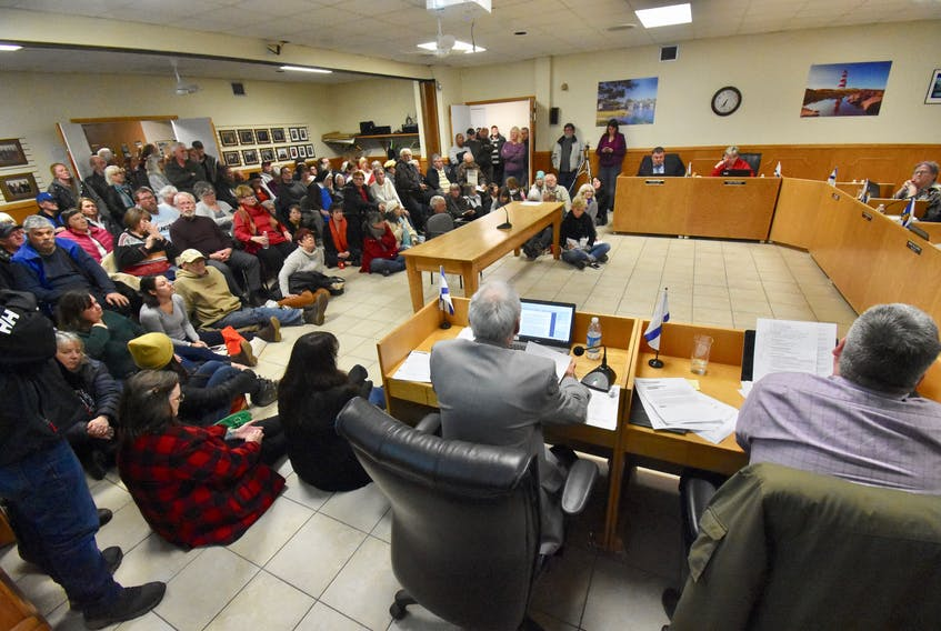 There was huge public interest in a discussion about an expansion of salmon farming operations that is being explored by the company Cermaq. Many residents of Digby County are against the idea and filled the Digby Municipal Council chamber on Jan. 27 to hear council talk about the issue. People sat in chairs, sat on the floor, stood in the room and doorways and those that couldn't make it inside stood in the hallways. TINA COMEAU PHOTO