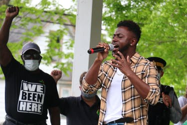 North Preston musician Keonte Beals, seen here at a Windsor rally in June, is one of a host of performers taking part in Artists United: A Rally to Support the Black Lives Matter Movement on the Halifax waterfront on Saturday from 4 to 7 p.m.