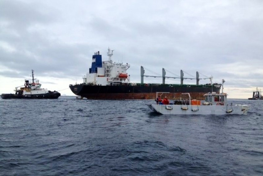 Towing of the MV John I is underway, with the vessel headed for Argentia. The tug Ryan Leet is towing the vessel, while the tug Atlantic Fir and a pollution response vessel are in the area for support. This photo was taken from Canadian Coast Guard vessel Earl Grey, which is monitoring the tow and has pollution response equipment and officers aboard. — Submitted photo<br /><br />