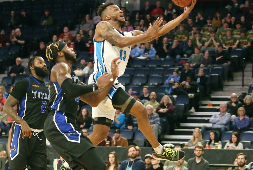 Halifax Hurricanes' Joel Kindred drives to the hoop for a basket against the  KW Titans during NBL action in Halifax ob Feb.  27, 2020. The league has pushed the start date of their next season to March 2021. TIM KROCHAK/ The Chronicle Herald