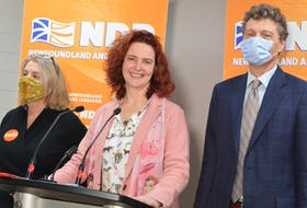 NDP Leader Alison Coffin (centre) announced the party's continued support for a $15 minimum wage Monday. WIth her are Jenn Deon, who is running in Virginia Waters-Pleasantville and Gavin Will,  candidate for Conception Bay-East Bell Island. BARB SWEET/THE TELEGRAM