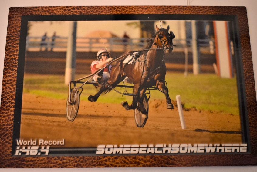 A special souvenir card commemorating Somebeachsomewhere's world record mile of 1:46.4, in 2008 at the Red Mile in Lexington, Kentucky. The driver is Paul MacDonell.