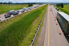 Traffic was backed up for kilometers at the main border crossing between Nova Scotia and New Brunswick when restrictions went into place this summer. The border will reopen again at 8 a.m. on Saturday, March 20, 2021. - Aaron Beswick / File
