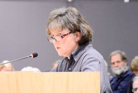 No Farms No Food member Marilyn Cameron speaks at a Nov. 14 public hearing on the County of Kings Municipal Planning Strategy and Land Use Bylaw. She would like to see a stronger level of agricultural land protection. FILE IMAGE