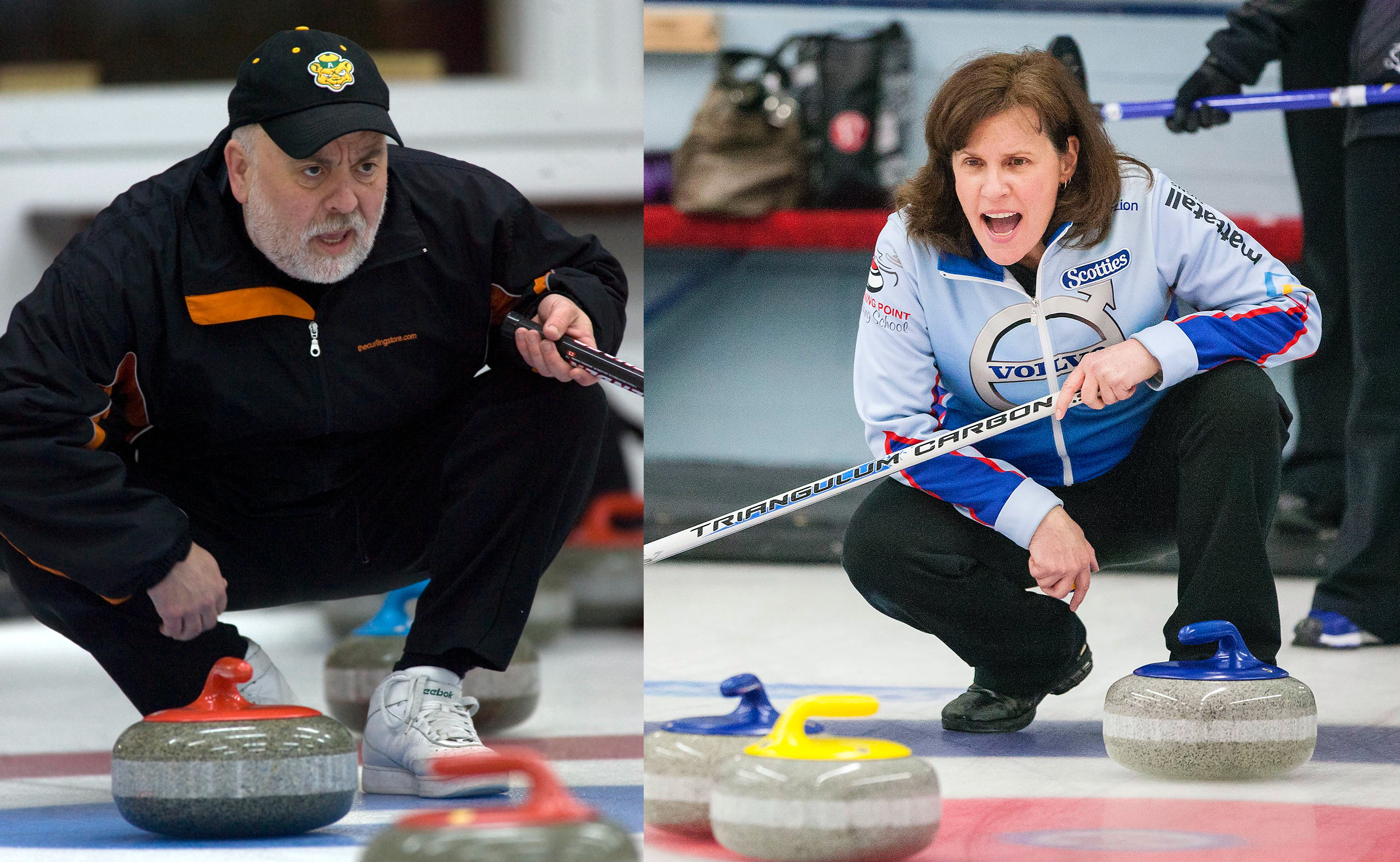 Brian Rafuse, left, and Mary Mattatall were recently inducted into the Nova Scotia Curling Hall of Fame. Both Rafuse and Mattatall are using their vast curling knowledge to help guide the next generation of athletes.