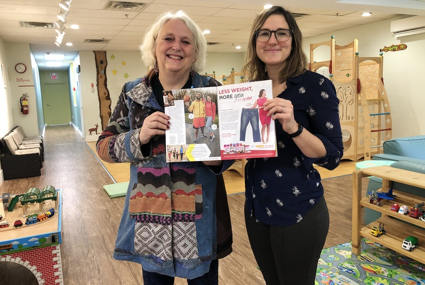 Wendy and Marissa LaPierre, co-owners of Cotton Tale Café and Play, pose with the issue of People Magazine that includes a photo captured in their New Minas-based business. – Contributed