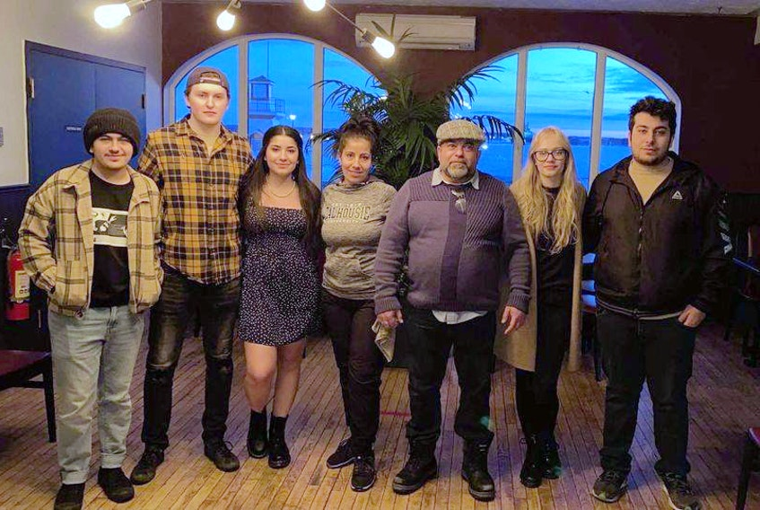 The Haydar family and family friends will be running the new pizza shop in Pictou. Left to right: Mitchell Haydar, Brad Chandler, Samantha Haydar, Bernadette Haydar, Sammy Haydar, Amber Little and Andrew Haydar