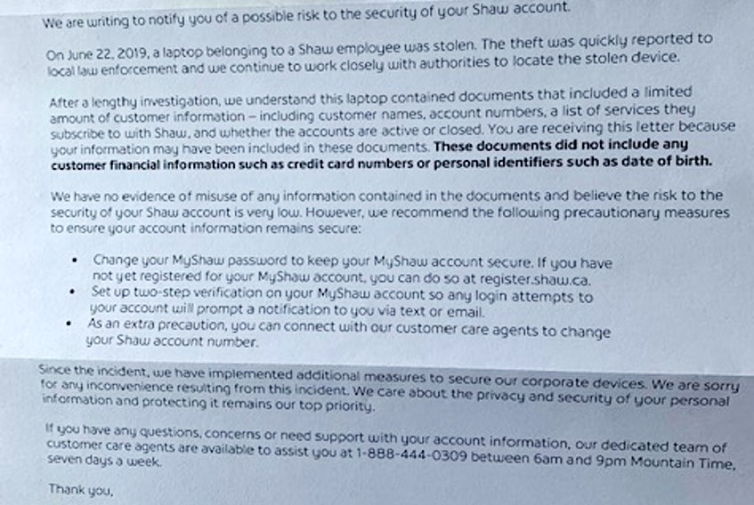 A letter from Shaw to customers regarding a June 2019 data breach is seen.