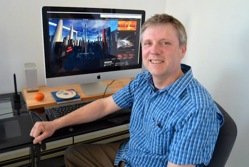 <p>Jamie MacKay shows the Celestial Celestron-C8 telescope that he uses to explore the night skies. Stargazing, which he has done since he was eight years old, has helped to fuel his interest in space travel and creating his webseries, Our Universe at War.</p>