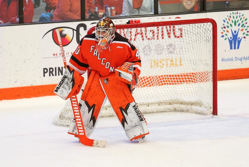 Goaltender Zack Rose of Paradise is helping a strong Bowling Green University team win in a tough NCAA college hockey division this season. The undrafted goaltender is hoping to catch the eye of NHL scouts. Bowling Green University photo