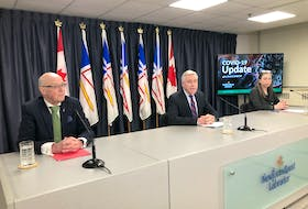 (From left) Health aMinister John Haggie, Premier Dwight Ball and Chief Medical Officer Dr. Janice Fitzgerald hold their daily COVID-19 update Friday in St John's. JOE GIBBONS/THE TELEGRAM