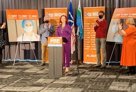 NDP Leader Alison Coffin gave a speech just minutes after seeing the unofficial results of the 2021 Newfoundland and Labrador provincial election. According to those results, Coffin lost by just over 50 votes in the St. John's East-Quidi Vidi district, while two NDP candidates will represent districts in the House of Assembly, Jim Dinn for St. John's Centre and Jordan Brown for Labrador West. — Andrew Waterman/The Telegram
