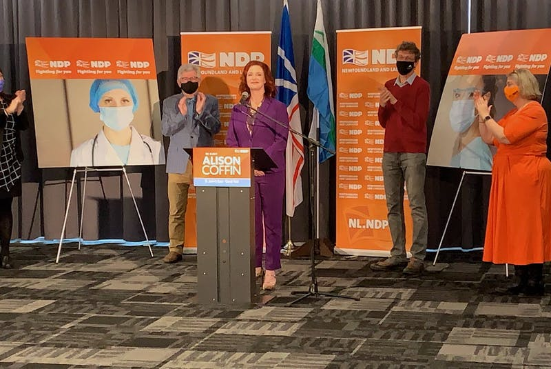 NDP Leader Alison Coffin gave a speech just minutes after seeing the unofficial results of the 2021 Newfoundland and Labrador provincial election. — Andrew Waterman/The Telegram