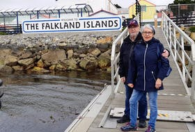 Stanley and Linda Laite of St. John's are onboard the Holland America, which has been stranded at sea amid the COVID-19 pandemic. The photo shows them in the Falkland Islands. CONTRIBUTED