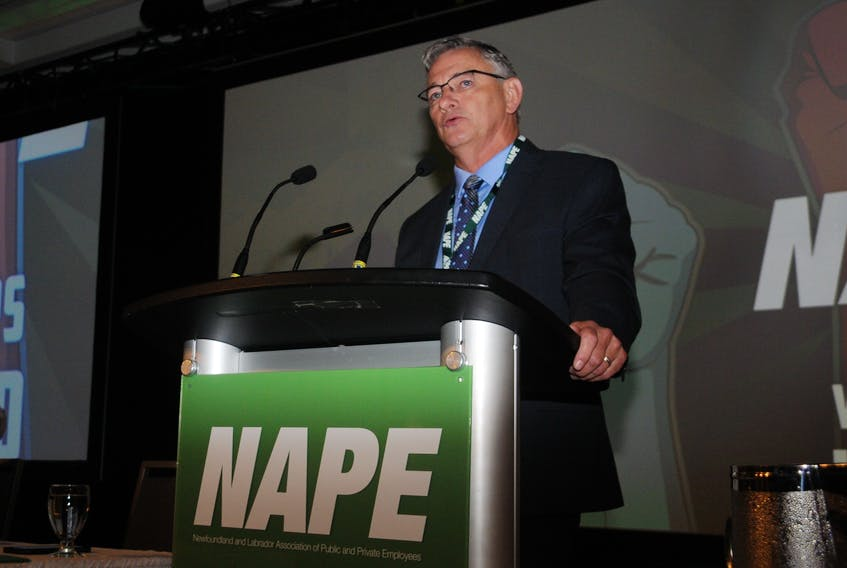 NAPE president Jerry Earle speaking at the union's Biennial Convention in St. John's Thursday. Andrew Robinson/The Telegram