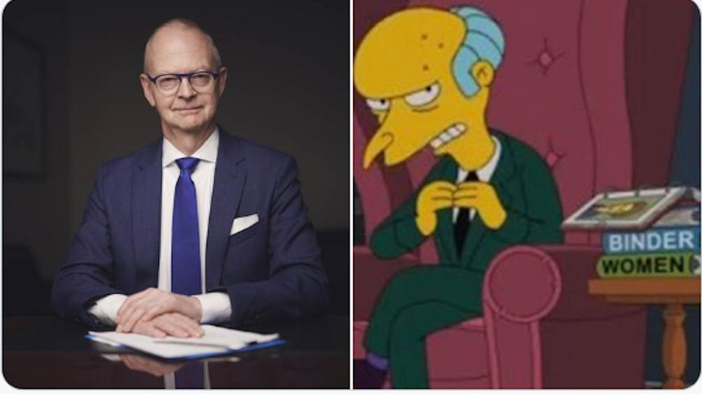 Progressive Conservative Leader Ches Crosbie and Springfield nuclear plant owner Monty Burns were paired in DuBourdieu's character breakdown. Photo courtesy Twitter