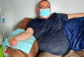 Thanks to donations, Chris Williams of Long Harbour was able to receive treatment on Thursday for alpha-1 antitrypsin deficiency, a rare genetic condition that can damage the lungs. The treatment cost $4,062. Next week's treatment is up in the air, he says.  CONTRIBUTED