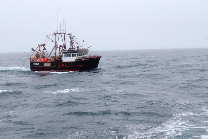 A fishing boat from the Great Northern Peninsula, from the 4R fleet, at sea during the 2019 shrimp fishing season.